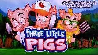 IT's SOOO CUTE!  THE THREE LITTLE PIGS SLOT MACHINE POKIE BONUSES & FEATURES - PECHANGA CASINO