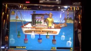 Lucky Larry's Lobstermania slot bonus win on nickels at Sands Casino