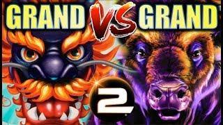 •BATTLE OF THE GRANDS!• 5 DRAGONS GRAND vs. BUFFALO GRAND (Aristocrat) | Slot Machine Bonus
