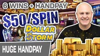 ⋆ Slots ⋆ 6 Wins + HANDPAY! ⋆ Slots ⋆ $50 High-Limit Slot Spins on Dollar Storm: Caribbean Gold!