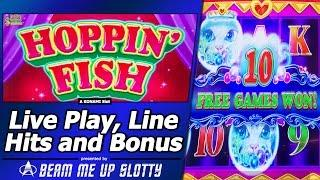Hoppin Fish Slot - First Attempt, Live Play, Line Hit and Free Spins Bonuses in new Konami game