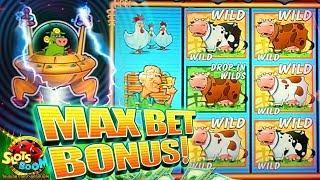 MAX BET BIG BONUS!!!! Invaders Return From Planet Moolah - 1c Wms Slot