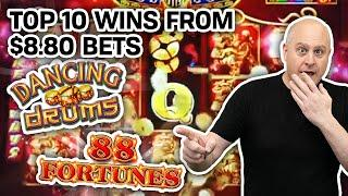 ⋆ Slots ⋆ WHAT LUCK! Only $8.80 Bets ⋆ Slots ⋆ My 10 BIGGEST SLOT WINS: Dancing Drums, 88 Fortunes, & MORE!