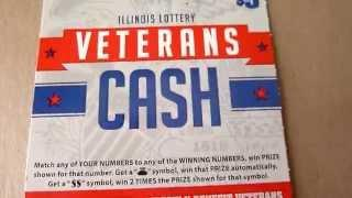 Veteran's Cash - $5 Illinois Instant Lottery Ticket Scratchcard Video