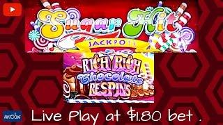 ( First Attempt ) Aristocrat - Sugar Rush Jackpots Rich Rich Chocolate : Live Play at $1.80 bet