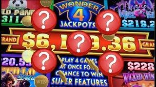 •WONDER 4 JACKPOTS!• BIG WIN W/ SUPER FREE GAMES (Aristocrat) Slot Machine Bonus
