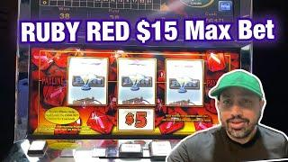 $15 MAX BET HOT RUBY RED! AMAZING CASH SLOT $6.25 BET WITH RED SPINS AT RIVER SPIRIT CASINO TULSA!