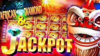 Bonus + JACKPOT !!! African Diamond & Lion Festival - 5c Konami Video Slots