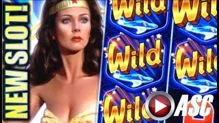 •NEW SLOT!• WONDER WOMAN GOLDEN LASSO (SG) G2E 2017 SNEAK PEEK PREVIEW! SLOT MACHINE BONUS