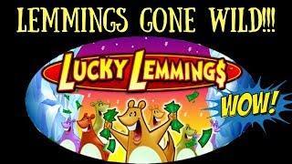 LEMMINGS GONE WILD! A SUPER FUN Bonus on Lucky Lemmings Slot Machine!