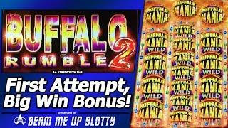 Buffalo Rumble 2 Slot - First Attempt, Live Play and Big Win in Free Spins Bonus