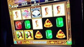 IGT DaVinci Diamonds - live play & nice bonus w/ retriggers - 10c denom
