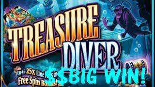 Treasure Diver - WMS Slot Machine Bonus - Big Win!