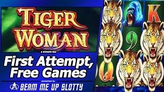 Tiger Woman Slot - First Attempt,  Free Spins Bonus with Re-Trigger