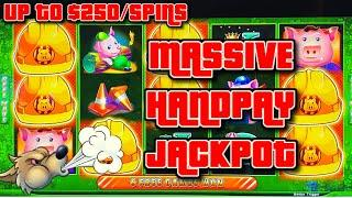 HIGH LIMIT UP TO $250 SPINS on Lock It Link Huff N' Puff ⋆ Slots ⋆MASSIVE HANDPAY JACKPOT ON $50 Bon