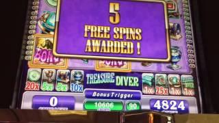WMS *TREASURE DIVER* Slot Bonus & Re-triggers BIG WIN!