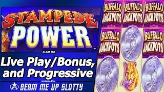 Stampede Power with Buffalo Jackpots Slot - First Look, Live Play, Free Spins and Progressive