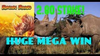 RAGING RHINO (WMS) NEW **MEGA** BIG WIN!! HIGH STAKE