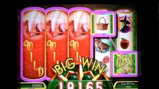 Wizard of Oz Ruby Slippers a  WMS game slot machine bonus win