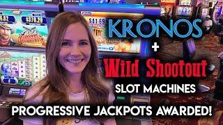 BONUS + Random Progressive Jackpots! Kronos and Wild Shootout Slot Machines!