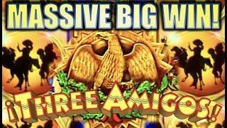 •MASSIVE BIG WIN!!• THE THREE AMIGOS (Ainsworth) & LIBERTY LINK Slot Machine Bonus