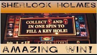 PERFECT BONUS on SHERLOCK HOLMES ~ 12 Times Pay ~ GOLD BONANZA and more slot machine wins!