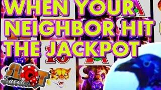 WHEN YOUR NEIGHBOR HITS THE JACKPOT! - Wonder 4 Jackpot Handpay - • SlotTraveler •