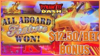 HIGH LIMIT All Aboard ⋆ Slots ⋆ Dynamite Dash $12.50 Bonus Round Slot Machine Casino