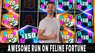 • HUGE WIN on FELINE FORTUNE • Mighty Cash PAYS DOUBLE! •