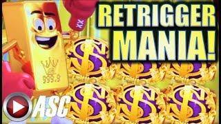•RETRIGGER MANIA! • 99 SPINS!• GOLD BONANZA (HAPPY PIGGY) BIG WIN! Slot Machine Bonus (Aristocrat)