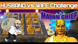 THE IMPOSSIBLE! HUSBAND vs WIFE CHALLENGE   MAYAN CHEIF   SLOT MACHINE  