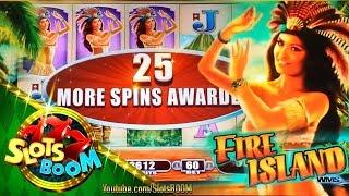 Fire Island LIVE BONUSES!! Re-Trigger on 5c WMS Video Slot