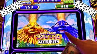 THE ALL NEW VOLCANIC ROCK FIRE JACKPOTS!!!! - New Las Vegas Rampart Casino Konami Slot Machine Bonus