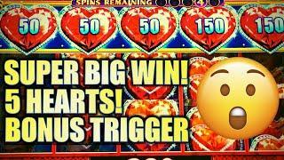 SUPER BIG WIN! •️ 5-FIVE HEARTS FEATURE TRIGGER! LOCK IT LINK $5.00 BET Slot Machine (SG)