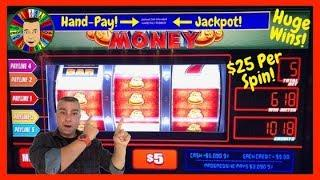 •$25 Per Spin Jackpot Handpay On Monopoly Money Bags Slot•