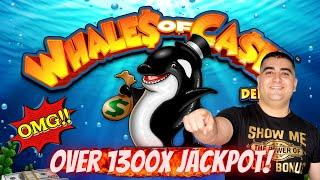 Over 1300X JACKPOT On Whales Of Cash Deluxe Slot Machine - Massive Sloe Win-Live Slot Play At Casino