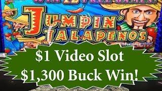 •$1,300 Buck Win! $1 Slots Jumpin Jalapenos Video Slot Jackpot Handpay Aristocrat, IGT | SiX Slot •