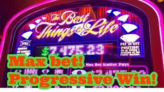 Progressive Win!! The Best Things in Life Slot Machine, $5 Max Bet, Live Play, By WMS