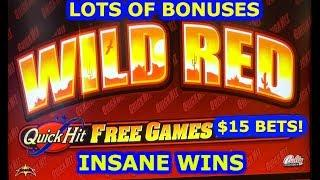 • QUICK HIT JACKPOT - WILD RED • $15 BET • HUGE WINS • BONUS • LIVE PLAY • BETTER THAN A JACKPOT! •