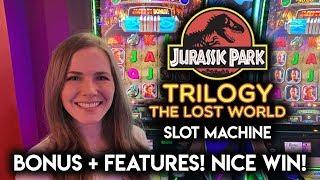 GREAT RUN on NEW Jurassic Park Trilogy The Lost World Slot Machine!!