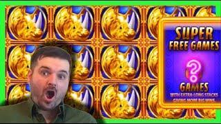 MASSIVE WIN on SUPER FREE GAMES! •Rhino Charge Slot Machine Bonus W/ SDGuy1234