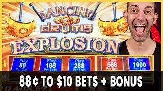 • 88¢ to $10 Bets + BONUS • Dancing Drums EXPLOSION!