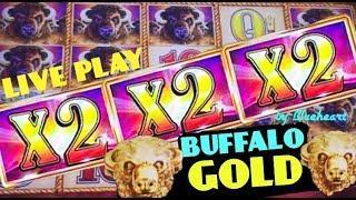 • THREE WILDS TWICE? •  BUFFALO GOLD slot machine LIVE PLAY BONUS WINS! (Wonder 4 Wheel)