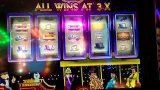"Monopoly Jackpot Station ""Party Train"" Slot Machine 2 Bonus Rounds Four Queens Casino Las Vegas"