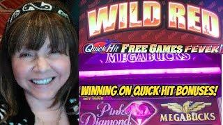 QUICK HIT WILD RED AND BLUE BONUSES & MEGABUCKS