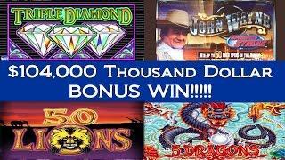 •Bonus Win! $104,000 Thousand Dollar Casino Video Slot Machine Jackpot Handpay High Stakes • SiX Slo