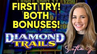Nice BONUS! First Try on Diamond Trails Slot Machine! Free Spins + Re Spin Feature