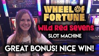 Top Free Spins BONUS on Wheel of Fortune Wild Red Sevens Slot Machine!! Great Run!!