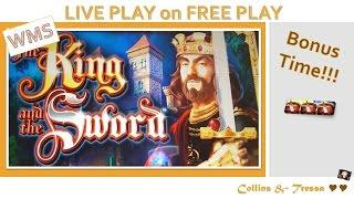 •LIVE PLAY on FREE PLAY•  HOW MUCH CASH? The King & The Sword • Slot Machine Bonus
