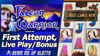 Falcon Warrior Slot - TBT Live Play, Line Hits and Free Spins Bonus with Multipliers in Old Konami